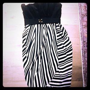 Shoshanna black White Strapless Dress